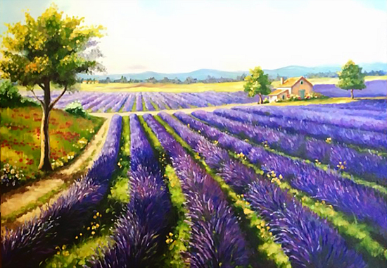 buc tranh son dau hoa oai huong